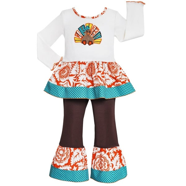 AnnLoren Girls' Thanksgiving Turkey 2-piece Tunic & Pant Set