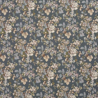 H864 Blue Ivory and Green Floral Bouquet Tapestry Upholstery Fabric