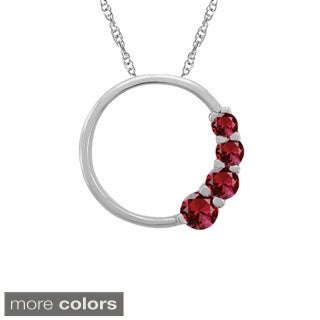 10k Gold Birthstone Open Circle Necklace