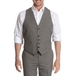 Tommy Hilfiger Men's Black/ White Trim Fit Suit Separate Vest