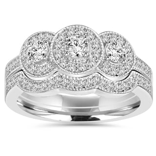 10k White Gold 1 ct TDW 3-stone Diamond Vintage Engagement Wedding Ring Set