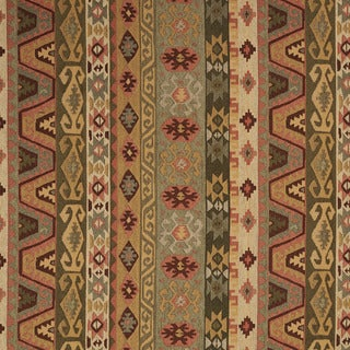 J759 Green Gold Red Beige Large Striped Southwest Upholstery Fabric