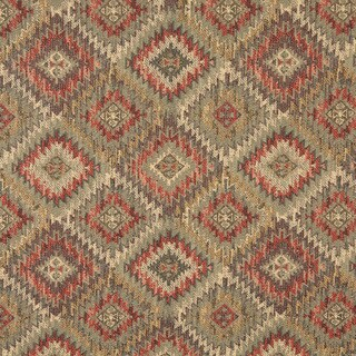 J764 Green Gold and Red Diamond Southwest Lodge Upholstery Fabric