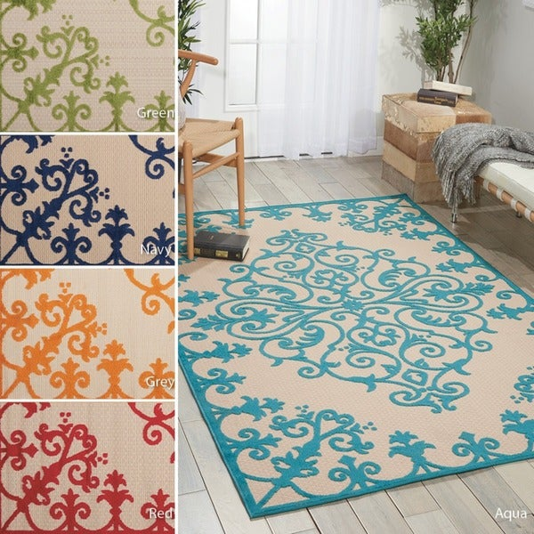 Nourison Moroccan Casbah Navy Indoor Moroccan Area Rug: Nourison Aloha Indoor/ Outdoor Area Rug (7'10 X 10'6