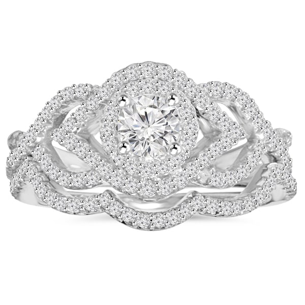 10K White Gold 1 ct TDW Diamond Intertwined Engagement Matching
