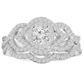 10K White Gold 1 ct TDW Diamond Intertwined Engagement Matching Wedding Ring Set