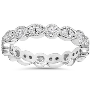 14K White Gold 1.00ct TDW Round Diamond Eternity Anniversary Stackable Wedding Ring (More options available)