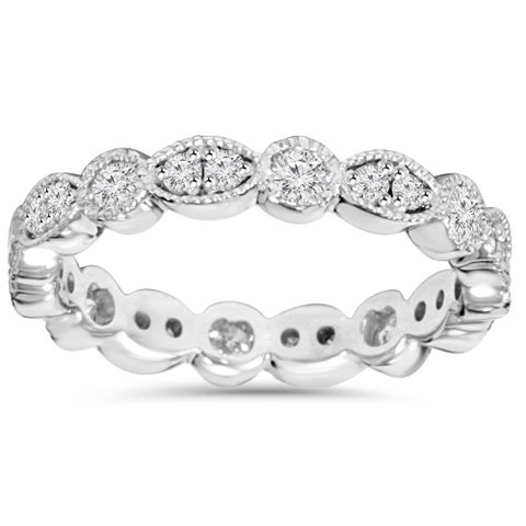 14K White Gold 1.00ct TDW Round Diamond Eternity Anniversary Stackable Wedding Ring