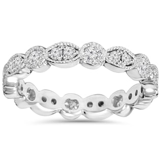 14K White Gold 1.00ct TDW Round Diamond Eternity Anniversary Stackable Wedding Ring (I-J, I2-I3)
