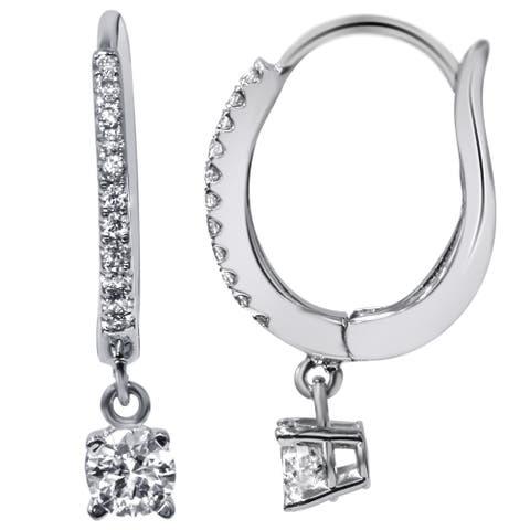 18k White Gold 11/20ct TDW Pave Hood Dangle Lever Back Diamond Earrings (F-G, VVS1-VVS2)