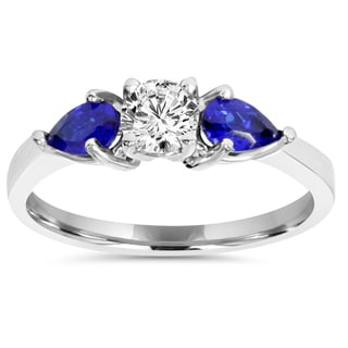 14k White Gold 1 ct TDW Stone Pear Shape Blue Sapphire & Diamond Engagement Wedding Ring (I-J,