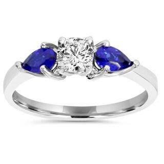 14k White Gold 1 ct TDW Stone Pear Shape Blue Sapphire & Diamond Engagement Wedding Ring