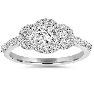 10k White Gold 1 ct TDW Diamond Halo Engagement Ring