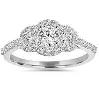 10k White Gold 1 ct TDW Diamond Halo Engagement Ring