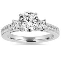 14k White Gold 2.25 ct TDW Round Gold Clarity Enhanced Diamond Engagement Wedding Ring