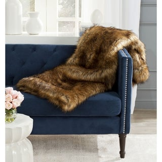 Safavieh Faux Raccoon Fur Warm Brown Throw (50-inches x 60-inches)