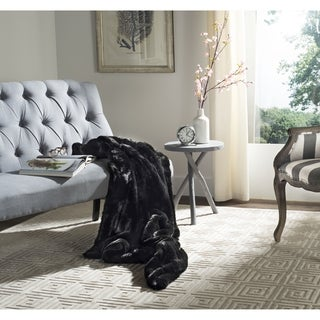 Safavieh Faux Black Mink Fur Onyx Throw (4' 2 x 5')