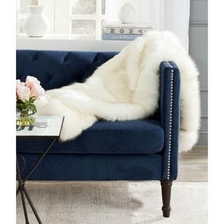 Safavieh Faux Shadow Fox Fur White Throw (4' 2 x 5')