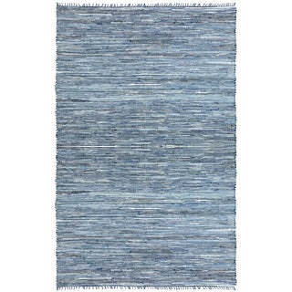 Blue Matador Leather & Denim Dhurry (10'x14') Rug