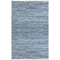 Blue Matador Leather & Denim Dhurry (10'x14') Rug - 10' x 14'
