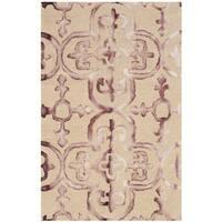 Safavieh Handmade Dip Dye Watercolor Vintage Beige/ Maroon Wool Rug (2' x 3')