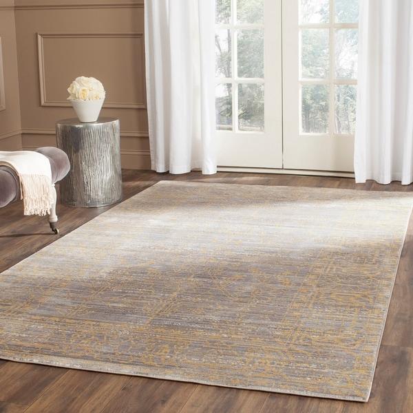 Safavieh Valencia Grey Gold Distressed Silky Polyester Rug 9 X27