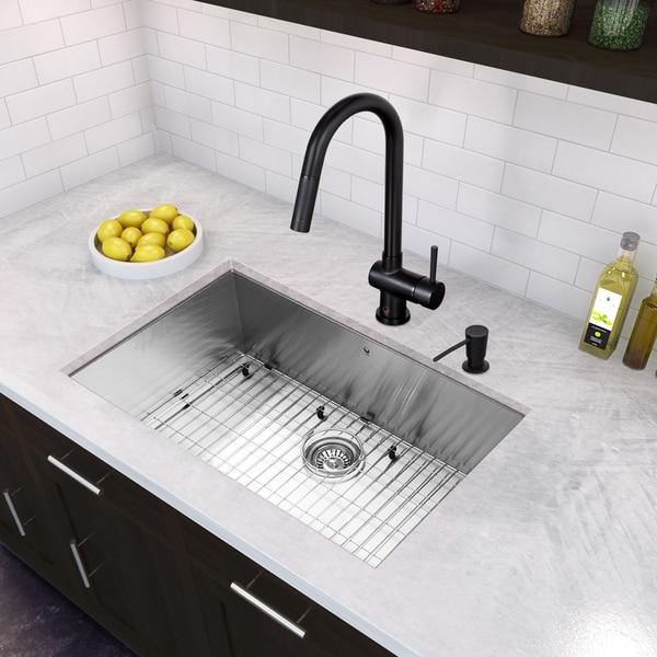 VIGO All-in-One 23-inch Stainless Steel Undermount Kitchen Sink and Gramercy Matte Black Faucet Set - Black/Silver