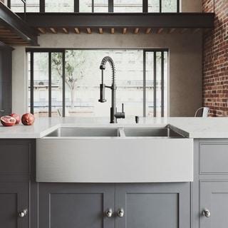 Bon VIGO All In One 33 Bingham Stainless Steel Double Bowl Farmhouse Kitchen  Sink Set