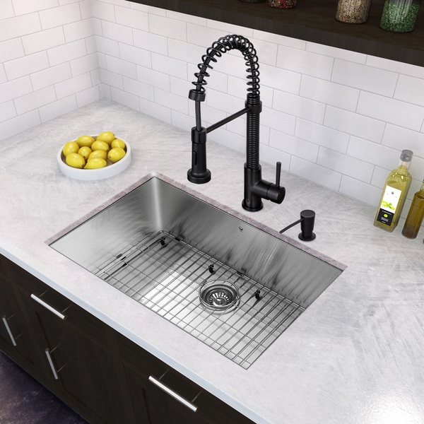 Shop VIGO All-in-One 30-inch Stainless Steel Undermount Kitchen Sink Undermount Kitchen Sink Faucet Grey on farmhouse kitchen sink faucet, single kitchen sink faucet, wall mount kitchen sink faucet,