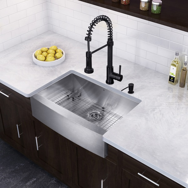 "Vigo All In One Camden Farmhouse Kitchen Sink Set: Shop VIGO All-In-One 33"" Camden Stainless Steel Farmhouse"