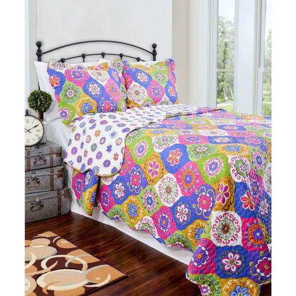 Slumber Shop Lena Multi Reversible 3-piece Quilt Set