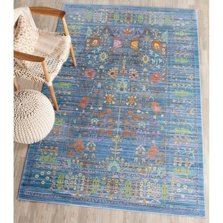 Safavieh Valencia Blue/ Multi Distressed Silky Polyester Rug (8' x 10')