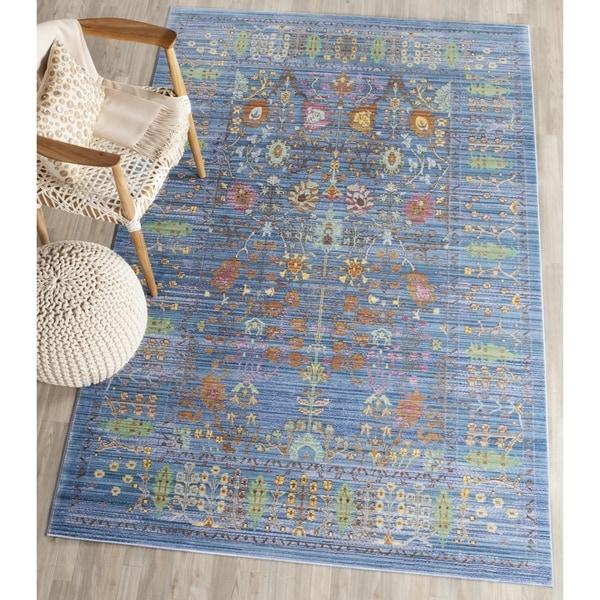 Safavieh Valencia Blue/ Multi Distressed Silky Polyester Rug - 8' x 10'