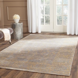 Safavieh Valencia Grey/ Gold Distressed Silky Polyester Rug (8' x 10')