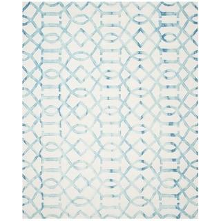 Safavieh Handmade Dip Dye Watercolor Vintage Ivory/ Turquoise Wool Rug - 8' x 10'
