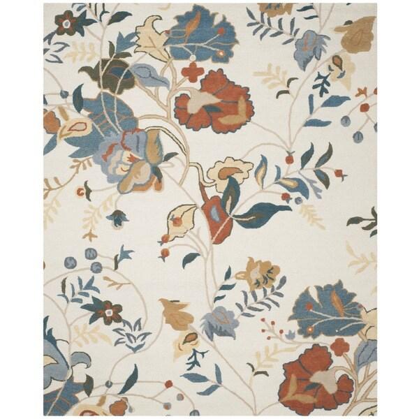Safavieh Handmade Blossom Red/ Blue Wool Rug - 8' x 10'