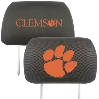 Fanmats Clemson Tigers Collegiate Charcoal Head Rest Covers Set of 2