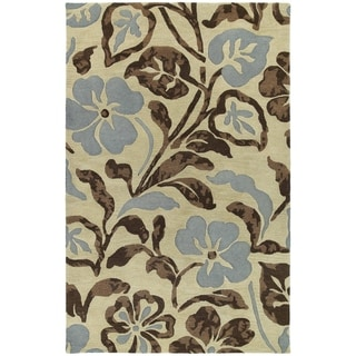 "Handmade Calais Lily In The Valley Linen Wool Rug (2'0"" x 3'0"") - 2' x 3'"