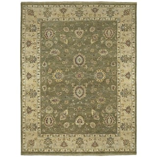 Hand Knotted Royal Signature Olive Ganesh Wool Rug 6