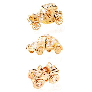 Matashi 24K Gold Plated Collectible Vehicles Ornament Package with Genuine Matashi Crystals