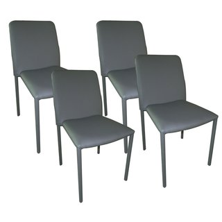 Aurelle Home Classic Italian Grey Leather Dining Chair (Set of 4)