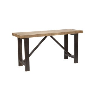 Aurelle Home Rustic Solid Bar Table with Steel Base