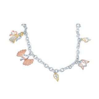 Unending Love Sterling Silver 1/5ct TDW Loving Arms Vermeil Charm Bracelet (I-J, I2-I3)