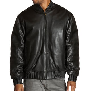 Mens Genuine Lambskin Leather Baseball Bomber Jacket with Zip-out Liner