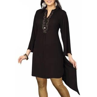 Handmade Black designer Kurti / tunic with beaded neckline (India)