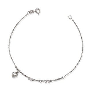 La Preciosa Sterling Silver Heart Charm and Beads Bracelet