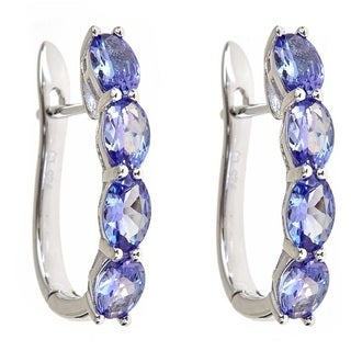 Anika and August Sterling Silver 3 1/2ct TGW Oval-Cut Tanzanite Earrings