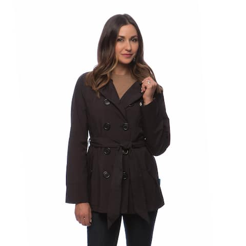 804e2eaeab4 Happy Rainy Days Women's Double-breasted Notched Lapel Short Trench Coat