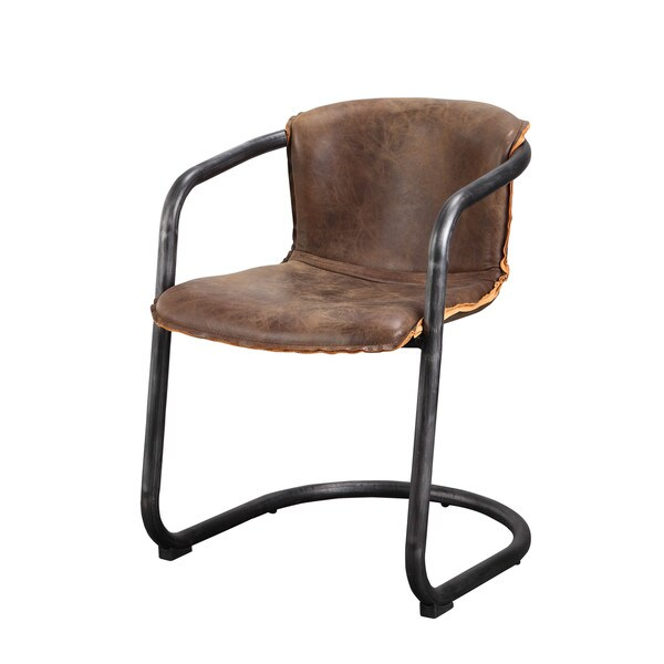 Set Of 2 Dining Room Furniture Brown Leather Dining: Aurelle Home Distressed Rustic Brown Leather Dining Chair