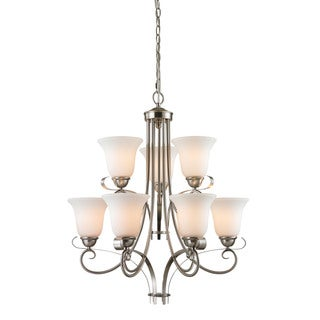 Cornerstone Brighton 9 Light Chandelier In Brushed Nickel